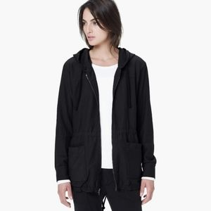 James Perse Black Hooded Utility Anorak Jacket